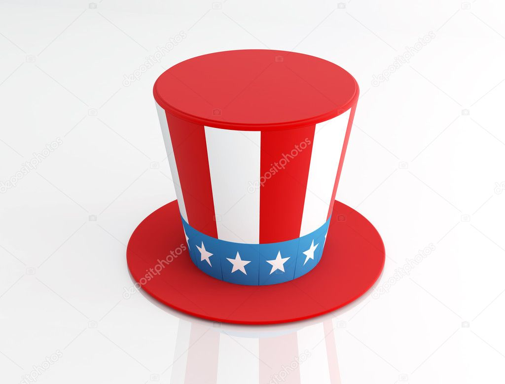 Uncle Sam's Hat isolated on white - rendering — Stock Photo #5010757