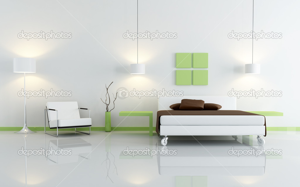 modern green and white bedroom stock photo archideaphoto