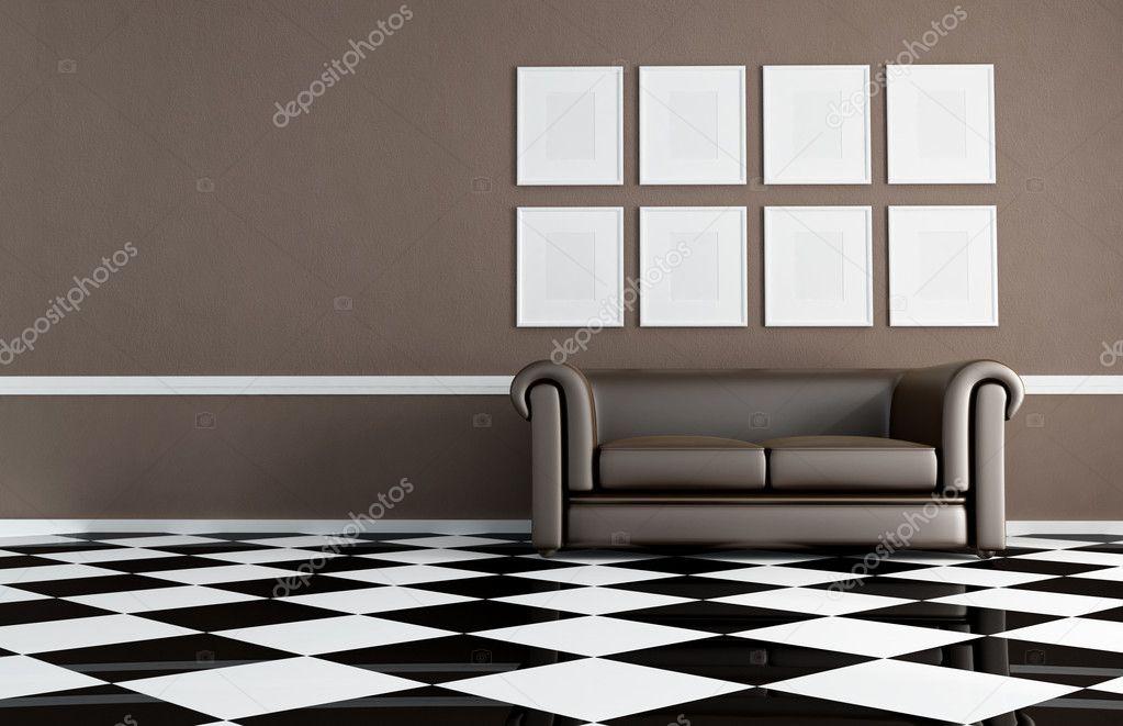 braun wohnzimmer mit klassischen sofa stockfoto