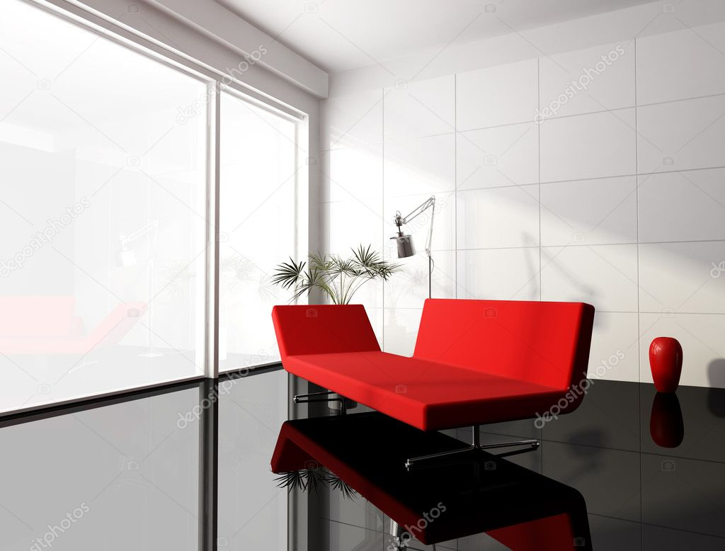 Minimal Red And White Living Room Stock Photo