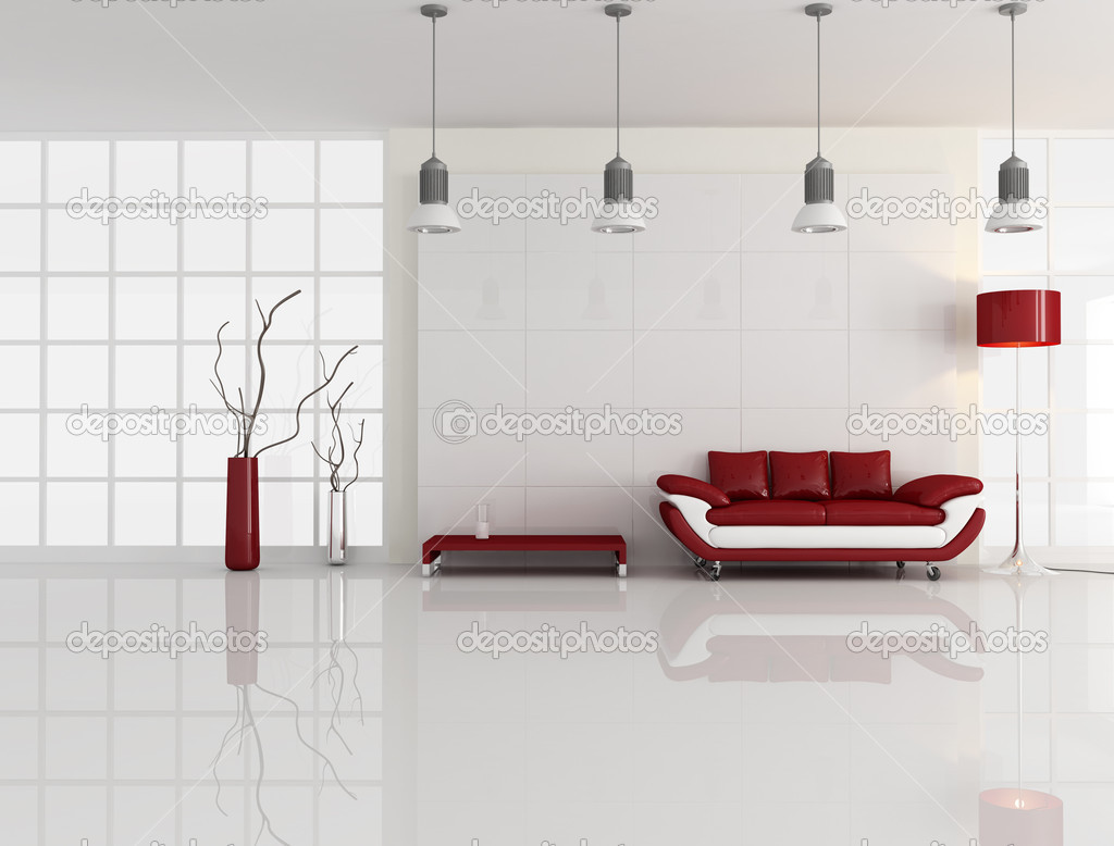 Contemporary minimal living room with leather sofa - rendering  Stock Photo #5012928
