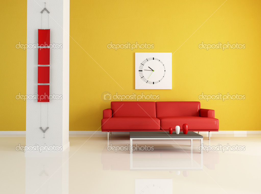 Red And Orange Modern Living Room Stock Photo Archideaphoto 5019079