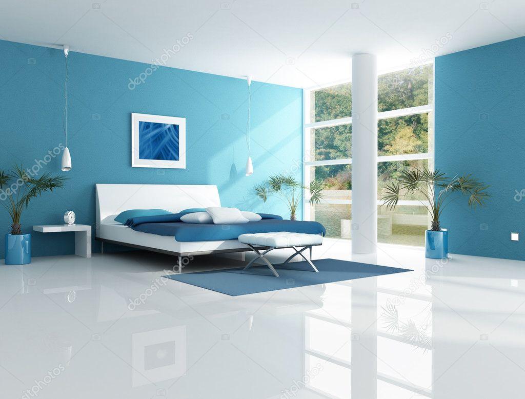 Contemporary Blue Bedroom Stock Photo Archideaphoto 5019141