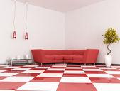 Red angle sofa — Stock Photo