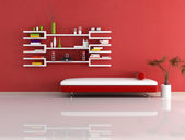 Modern red and white couch and bookcase — Stock Photo