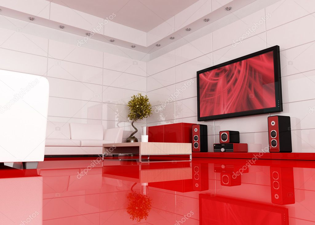 Red and white living room with home theatre , the image on tv screen is a my image - rendering — Stock Photo #5029296
