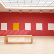 Modern red art gallery — Stock Photo