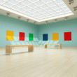 Colored modern art gallery — Stock Photo