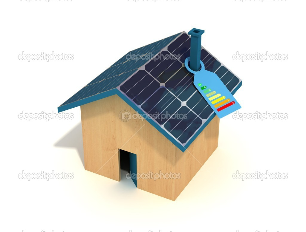 Conceptual :photovoltaic house with label of energetic certification — Stock Photo #5037065
