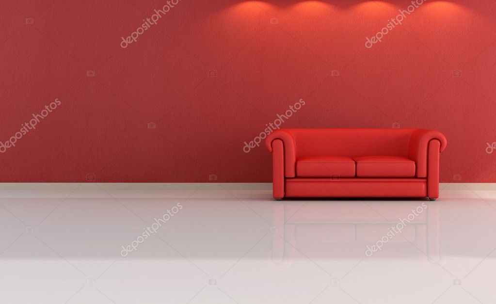 Minimalist red lounge stock photo archideaphoto 5037086 for Minimalist lounge