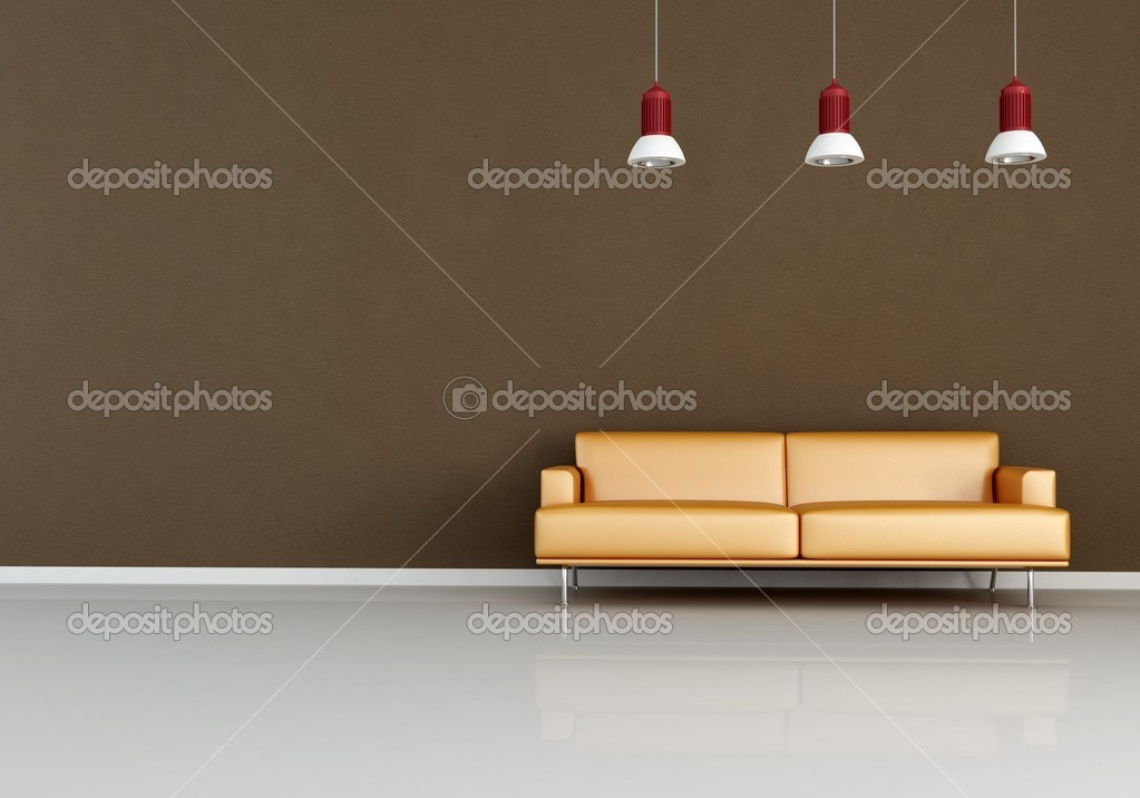 Modern orange couch against brown wall - rendering — Stock Photo #5037096
