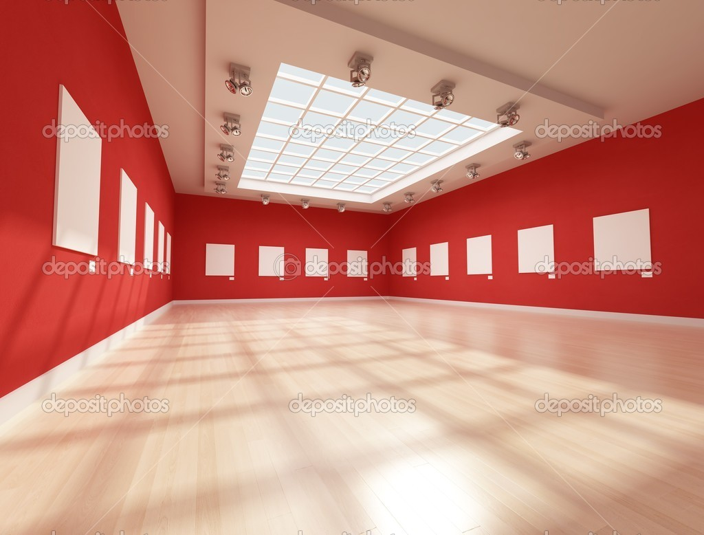 Ontemporary art gallery with blank canvas - rendering   #5037110