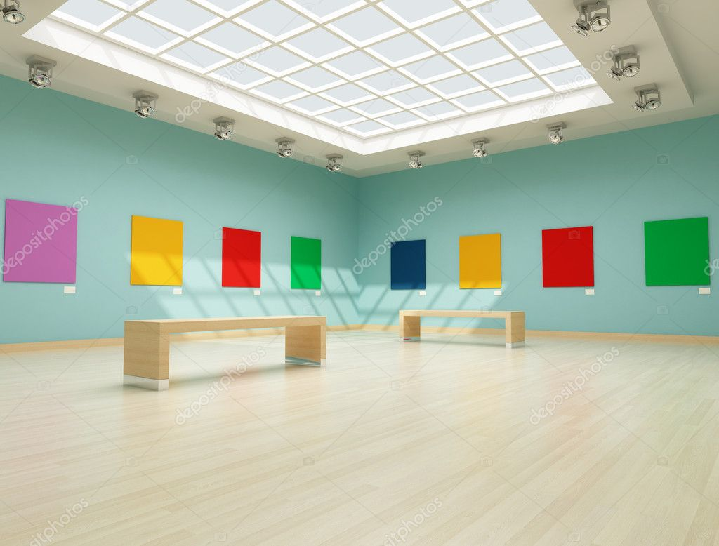 Modern art gallery with colred empty canvas — Stok fotoğraf #5037232