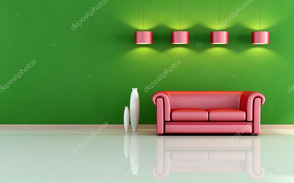 Red And Green Living Room Stock Photo Archideaphoto 5037301