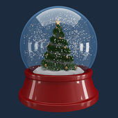 Christmas tree in a snowglobe — Stock Photo