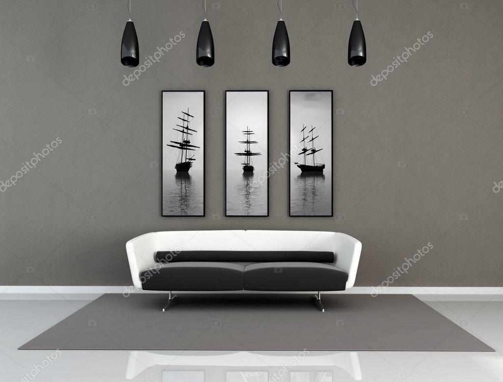 Svart och vit modern interiör — stockfotografi © archideaphoto ...