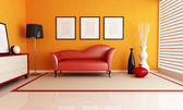 Orange and red living room — Stock Photo