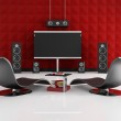 Red and black home cinema — Stock Photo