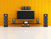 Black and orange home theater — Stock Photo