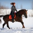 Winter horse ride — Stock Photo
