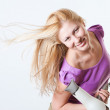 Portrait of a girl with a hairdryer — Stock Photo