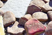 Stones with inscriptions — Stock Photo