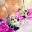Weddings glasses with flowers — Stock Photo