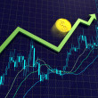 Forex charts, arrow and dollar coin - Stock Photo