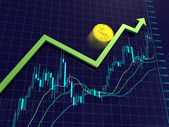 Forex charts, arrow and dollar coin — Stock Photo