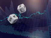 Currency dice and Forex chart — Stock Photo
