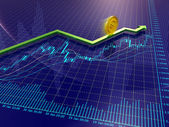 Forex charts, arrow and euro coin — Stock Photo