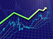 Forex chart with trend arrow — Stock Photo