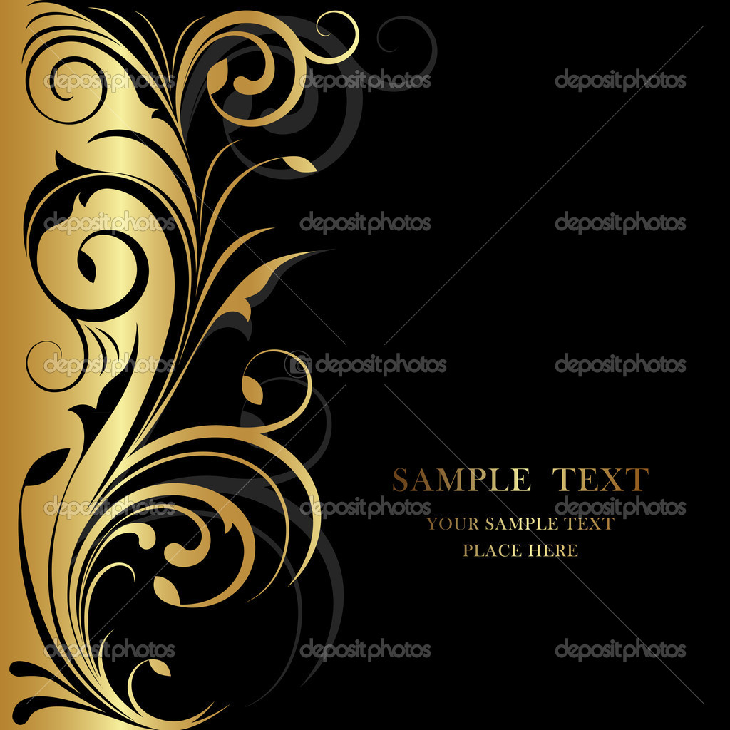 Golden design with floral pattern on black base — Stock Vector #5252379