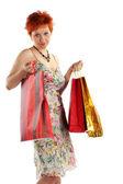 购物。与购买不同袋的幸福女人 — 图库照片