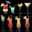 Stock Vector: Silhouette of cocktails on black background