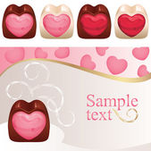 Chocolate hearts — Stock Vector