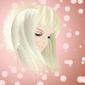 Beautiful girl head — Stock Vector