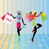 Happy fashion girls with shopping — Stock Vector