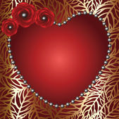 Heart frame with red roses and perls — Stockvektor