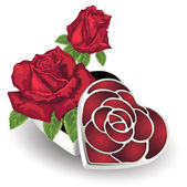 Heart-shape gift box with roses — Stock Vector