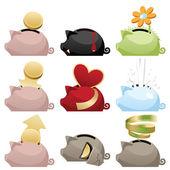 Piggy icons set — Stock Vector