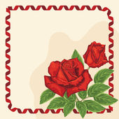 Frame with red roses and ribbon — Vector de stock