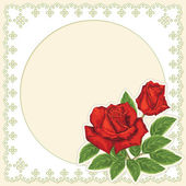 Lace card with red roses — Vector de stock