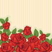 Card with red roses — Stockvektor