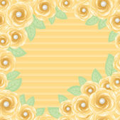 Yellow roses frame with perls — Stock Vector