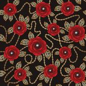 Kırmızı gül, altın zincirler ve perls antika arka plan — Stok Vektör