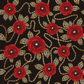Vintage background with red roses, gold chains and perls — Stok Vektör