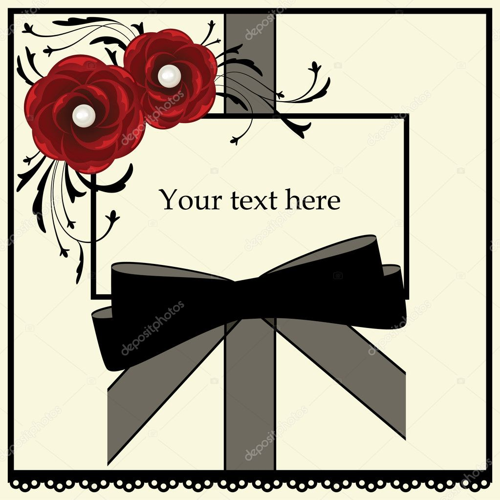 Frame with red roses and black bow  — Stock Vector #4877567