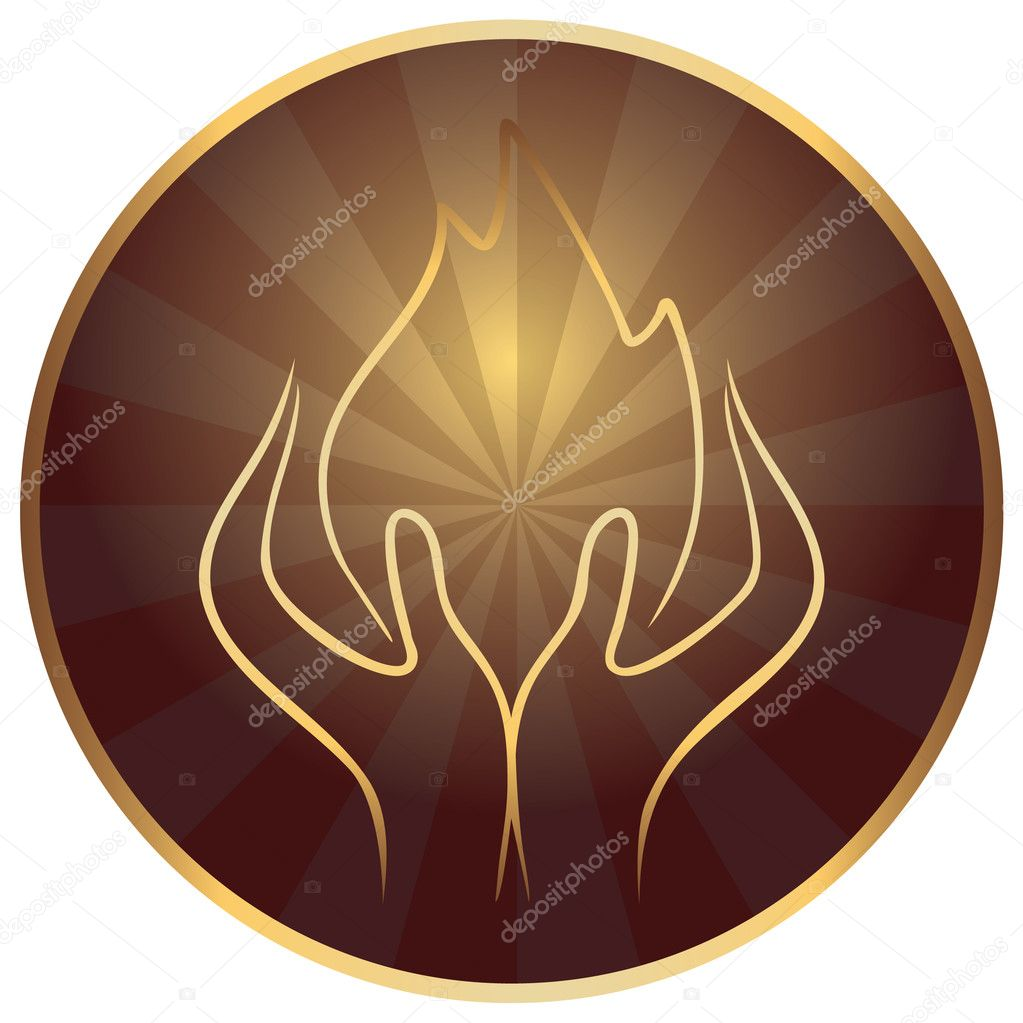 Gods hands with flame — Stock Vector #4877653