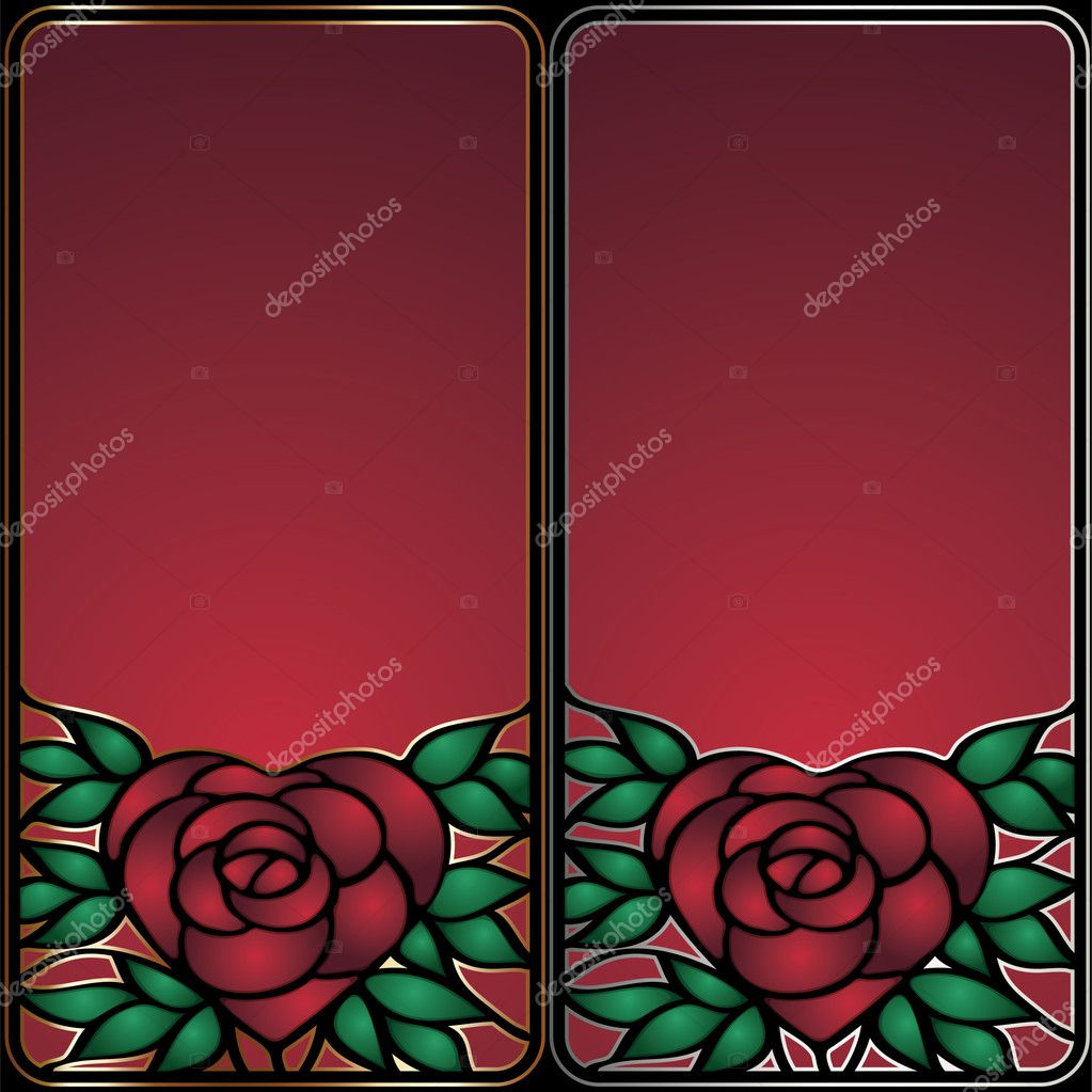 Stainless frame with heart-shaped rose — Stock Vector #4877735